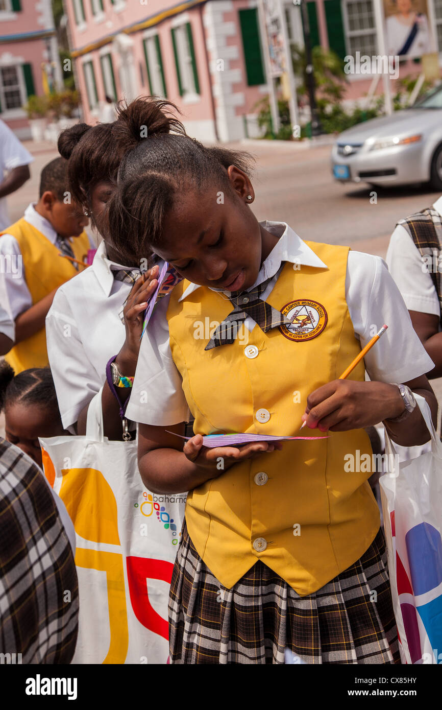 Bahamian school children learn about fire safety in Parliament Square Nassau, Bahamas. - Stock Image