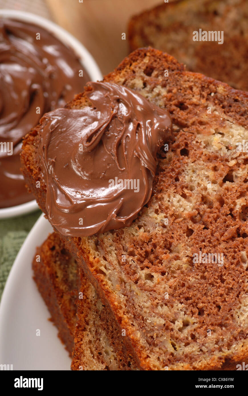 Freshly baked banana and chocolate nut bread with Nutella Stock Photo