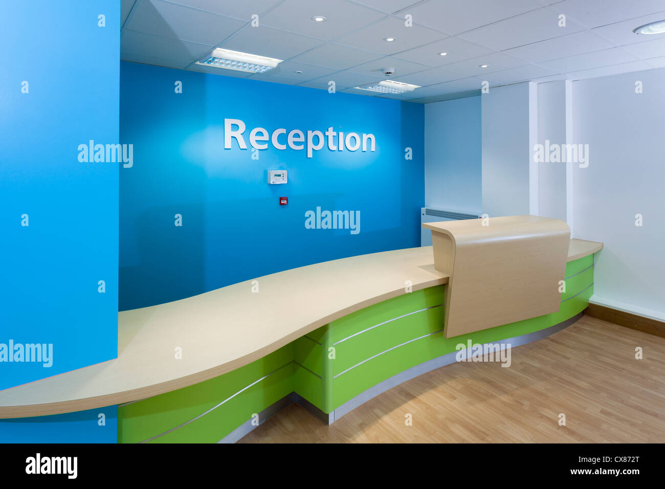 Unoccupied reception at Day Surgery Unit Southampton General Hopsital prior to medical staff moving in. - Stock Image