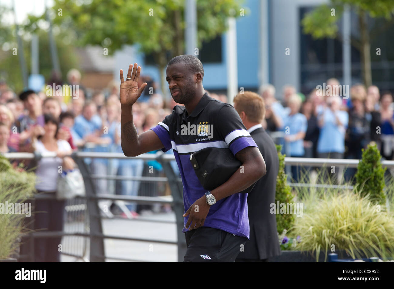 Yaya Toure footballer arriving at the Etihad Stadium, Manchester City Football Club, Manchester, England, United - Stock Image