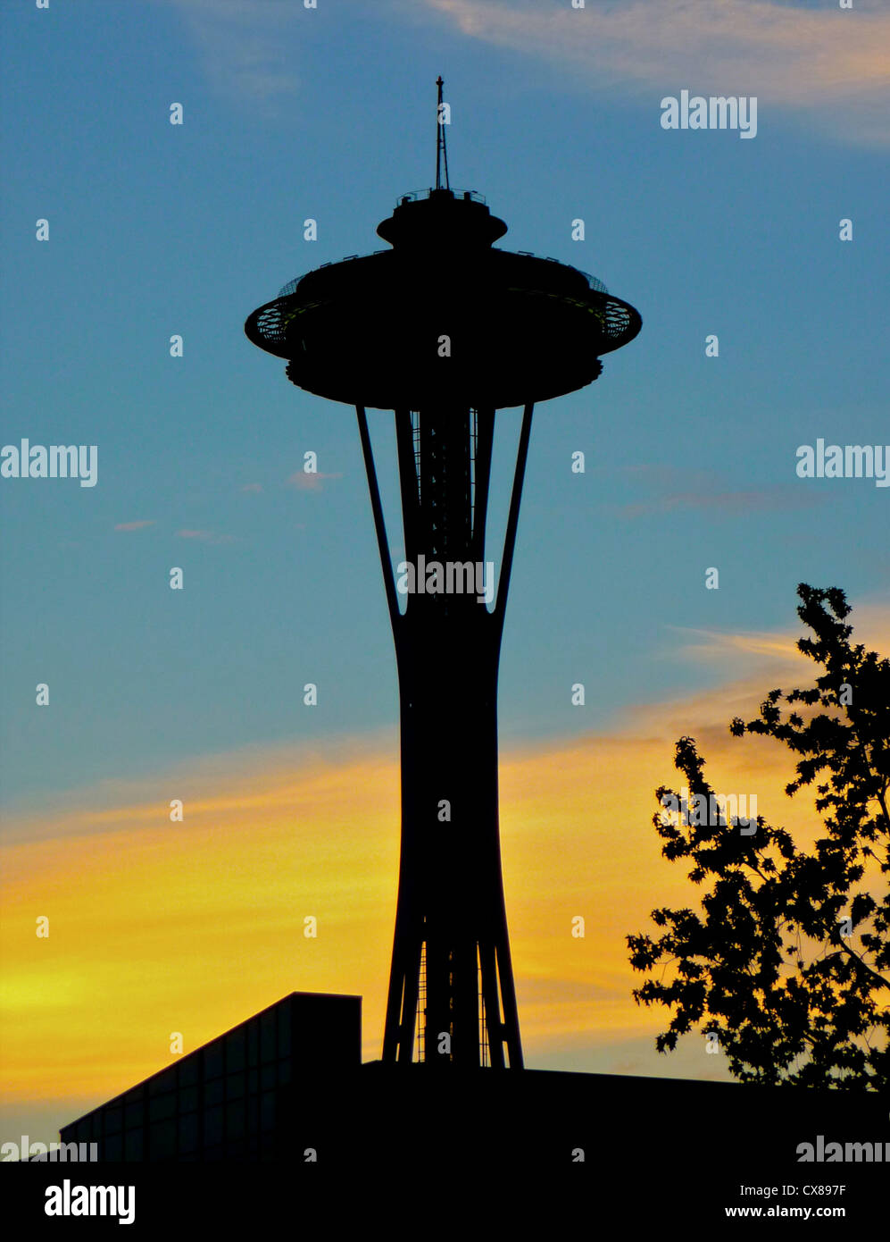 The Space Needle is a major feature on the skyline of Seattle in the USA - Stock Image