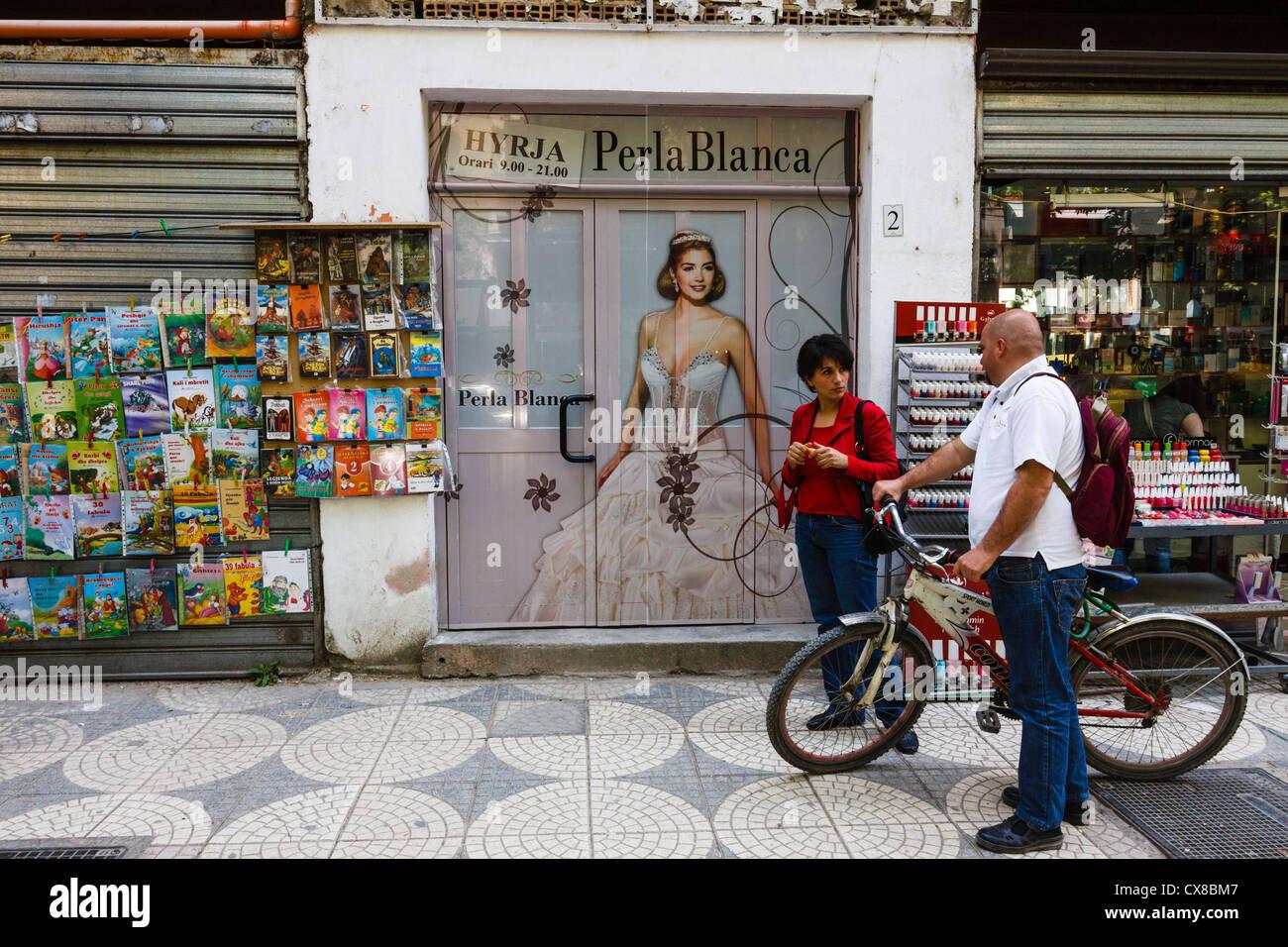 Street scene in downtown Tirana, Albania Stock Photo