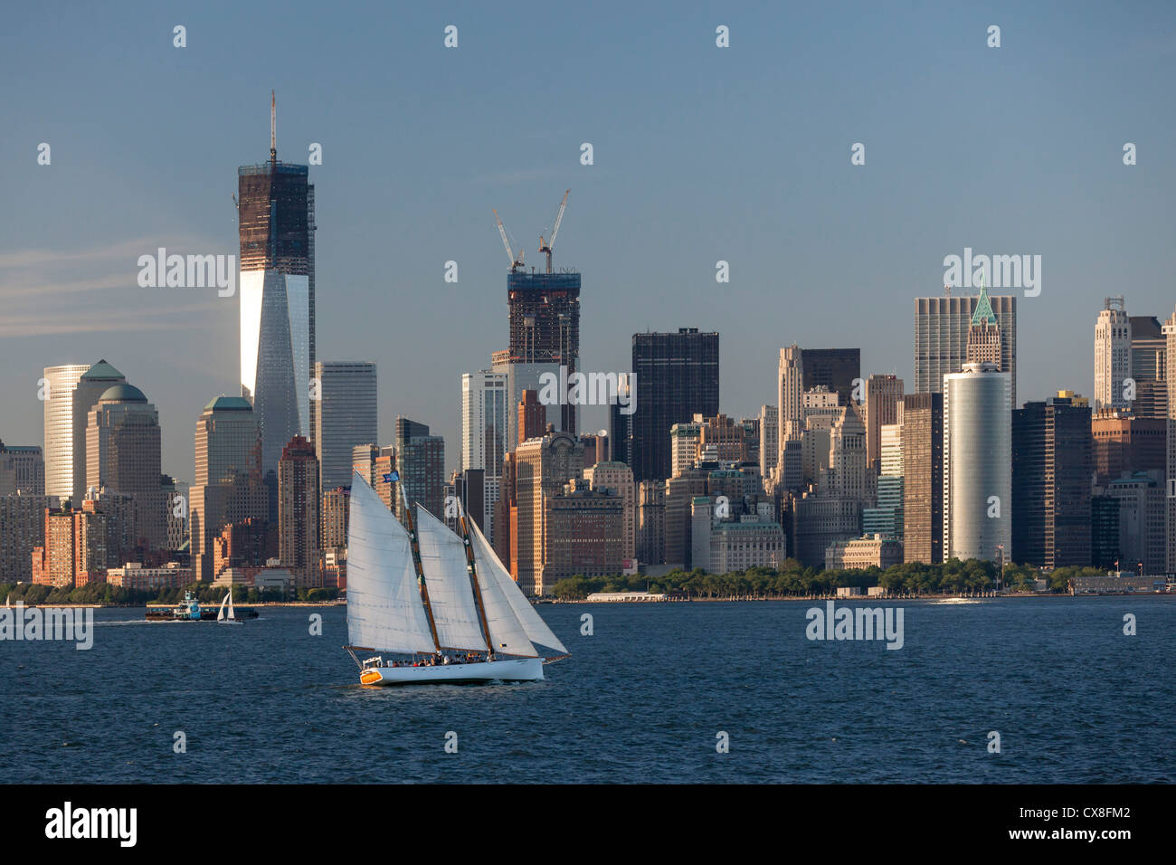 Lower Manhattan Skyline, Sailing Boat, East River, Freedom Tower, New York Stock Photo