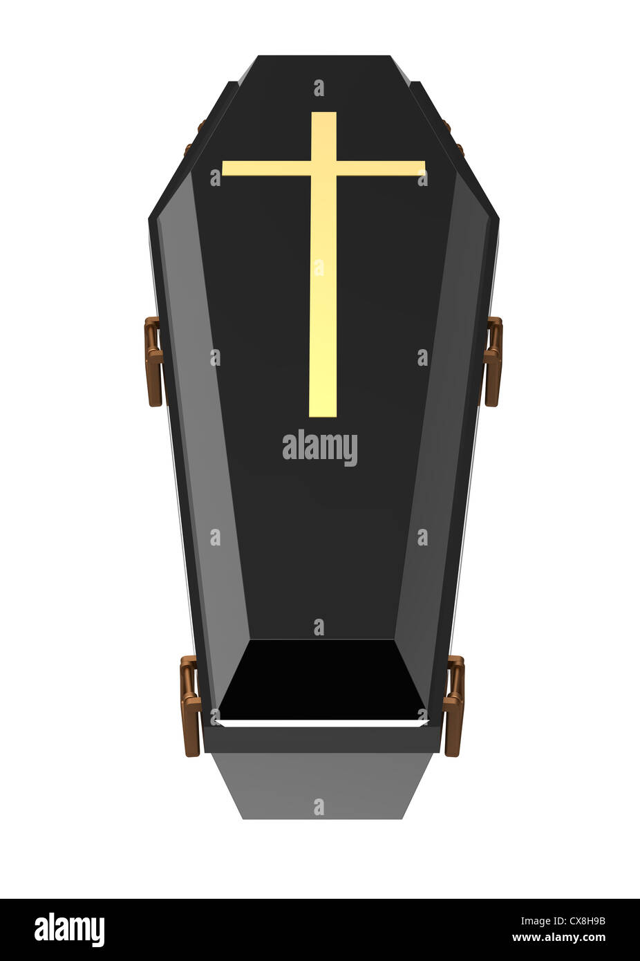 Black coffin, isolated on white, 3d render - Stock Image