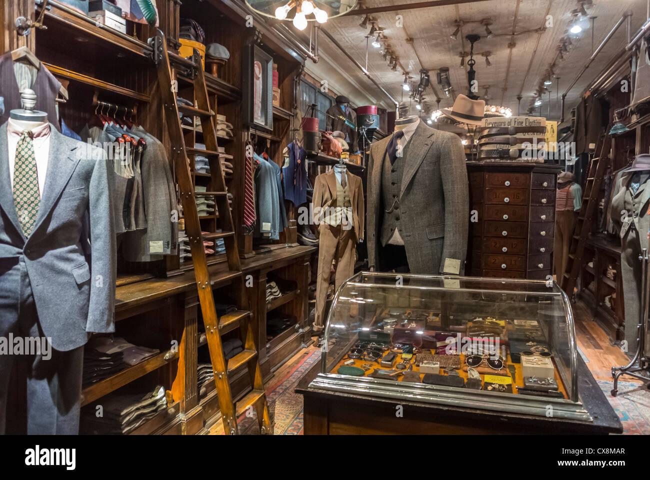 New York, NY, USA, Inside Luxury Men's Clothing Store at Night, Ralph Lauren, Display, Shelves - Stock Image