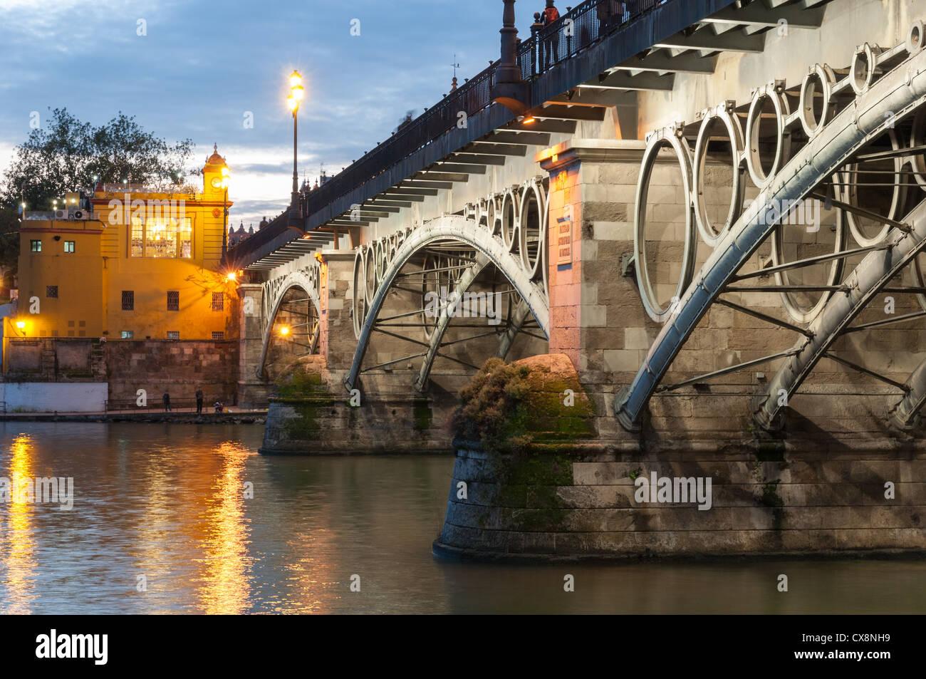 Puente de Triana (de Isabel II) - Seville, Spain - Stock Image