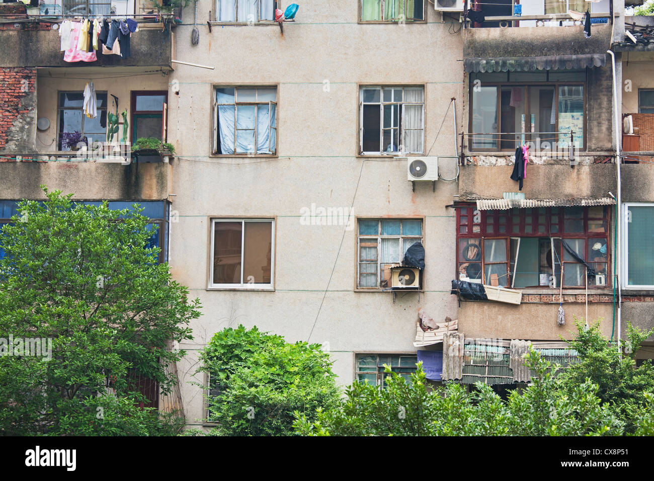 Outside of houses in rural China where many families live in poverty - Stock Image