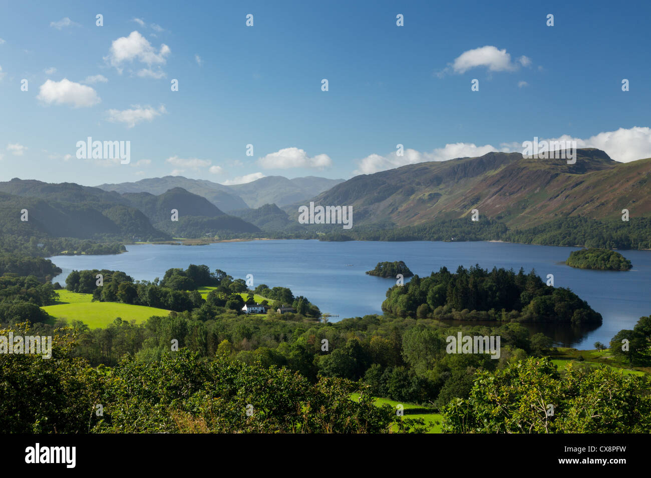 Panorama of Derwentwater in English Lake District from Castlehead viewpoint in early morning - Stock Image