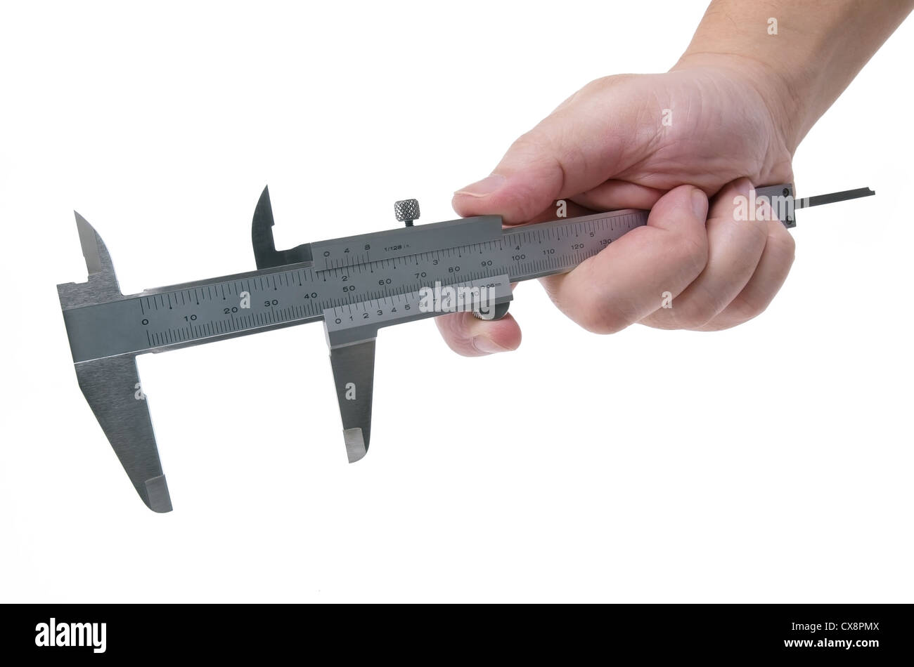 Hand using a caliper to measure on a white background - Stock Image
