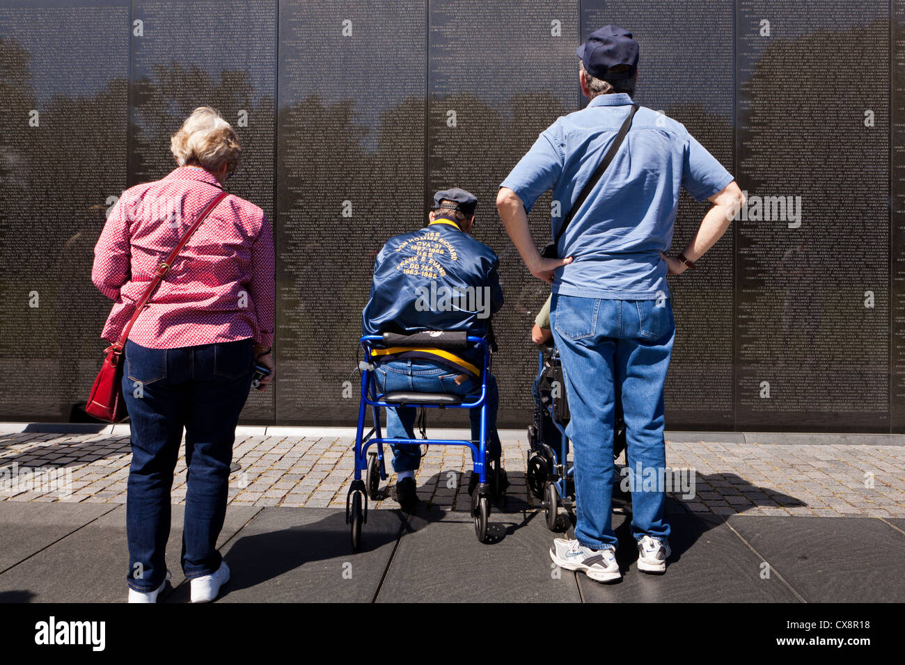 Vietnam Vets visiting the Vietnam War Memorial - Washington, DC - Stock Image