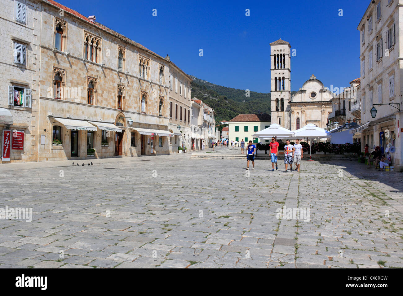 Central square (Pjaca), city of Hvar, Island of Hvar, Dalmatian coast, Croatia - Stock Image