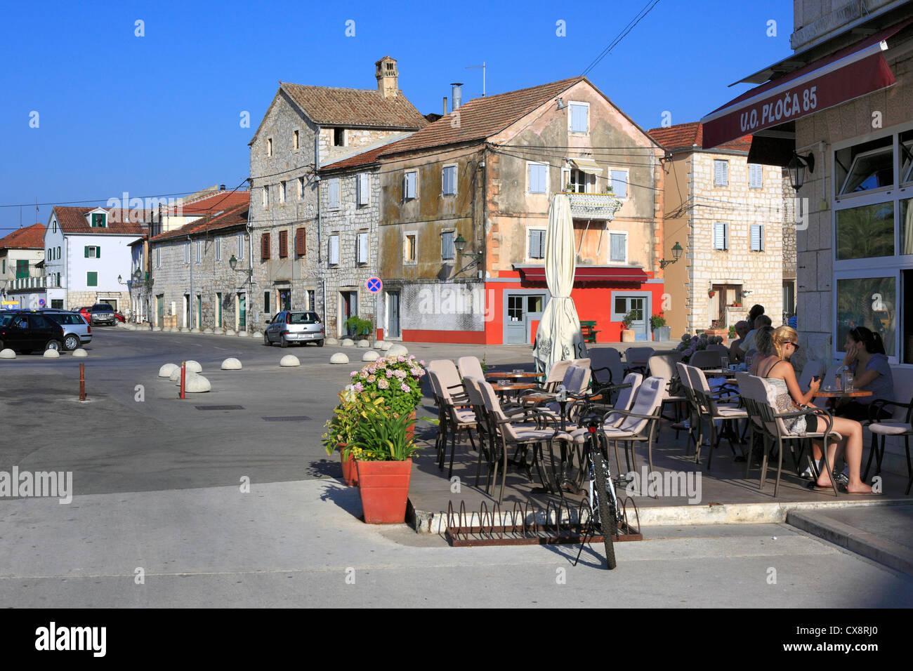 Street cafe, Stari Grad, Island of Hvar, Dalmatian coast, Croatia - Stock Image