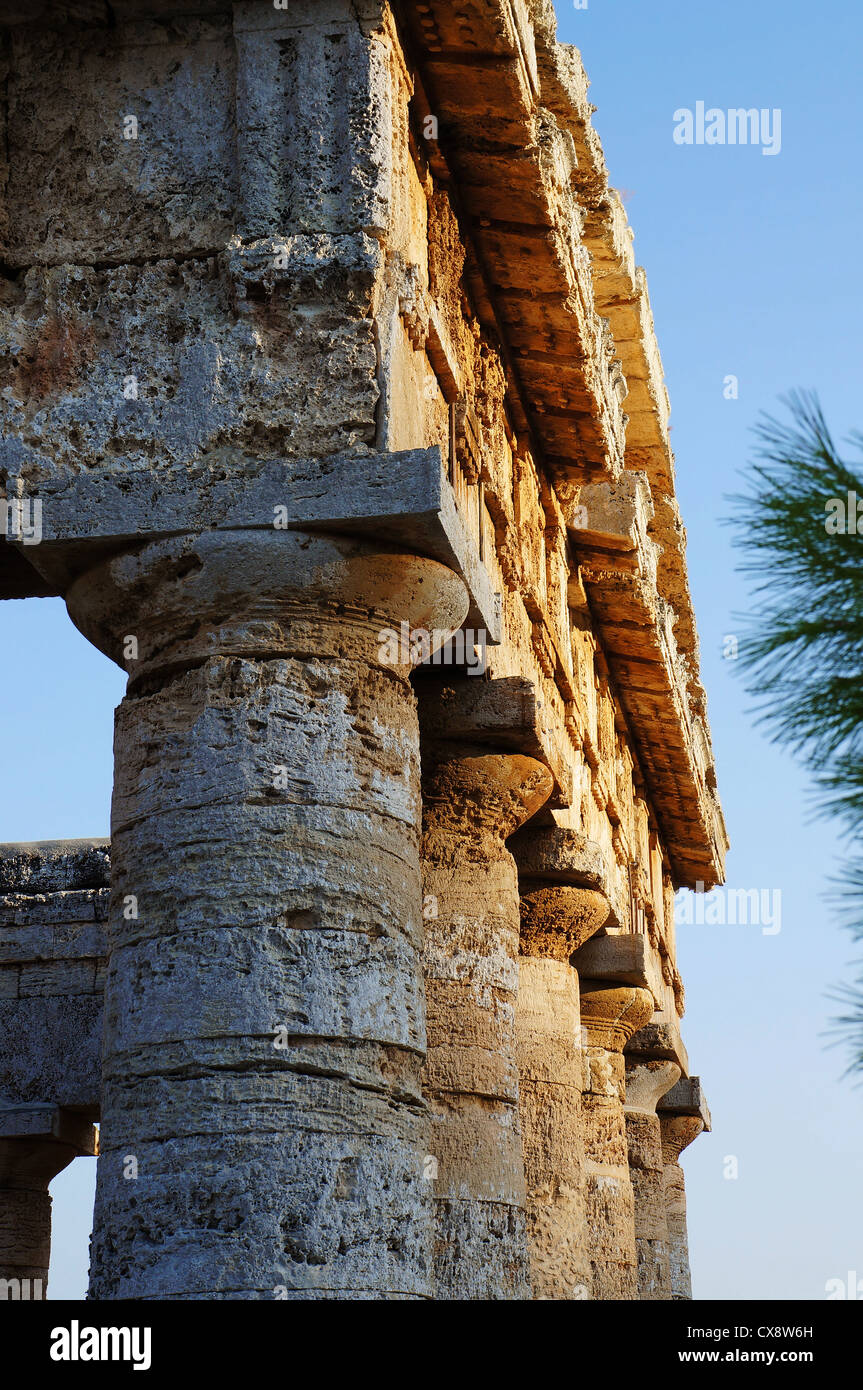 View of the monumental columns and pediment of the greek temple of Segesta - Stock Image