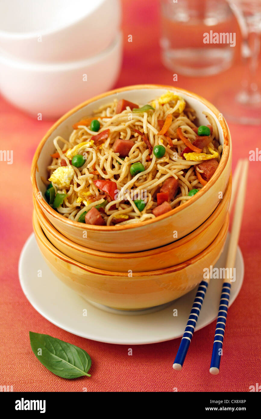 Hot Chinese noodles. Recipe available. Stock Photo