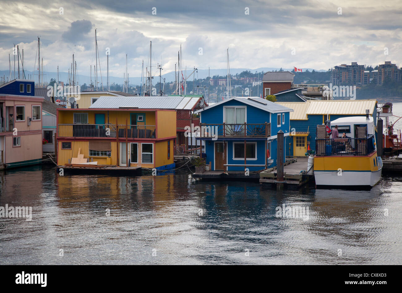 Floating homes in Victoria, BC, Canada - Stock Image