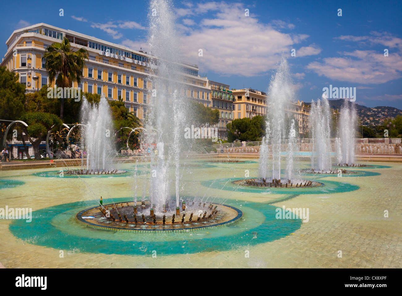 Fountains at Place Massena in downtown Nice on the French Riviera (Cote d'Azur) Stock Photo