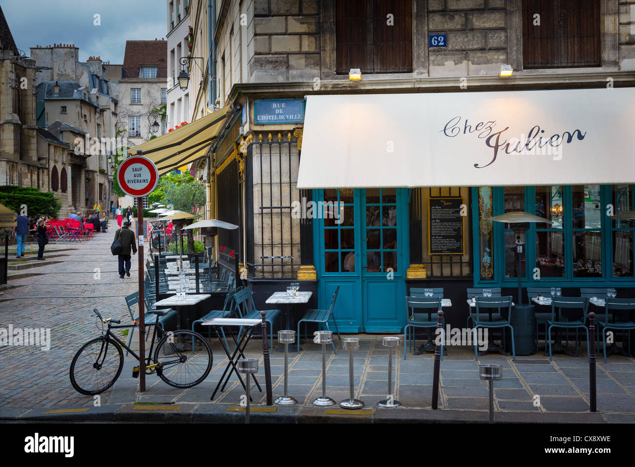 Restaurant in Paris near Jardin du Luxembourg Stock Photo ...