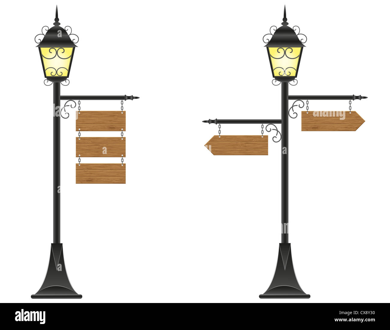 wooden boards signs hanging on a streetlight illustration isolated on white background Stock Photo