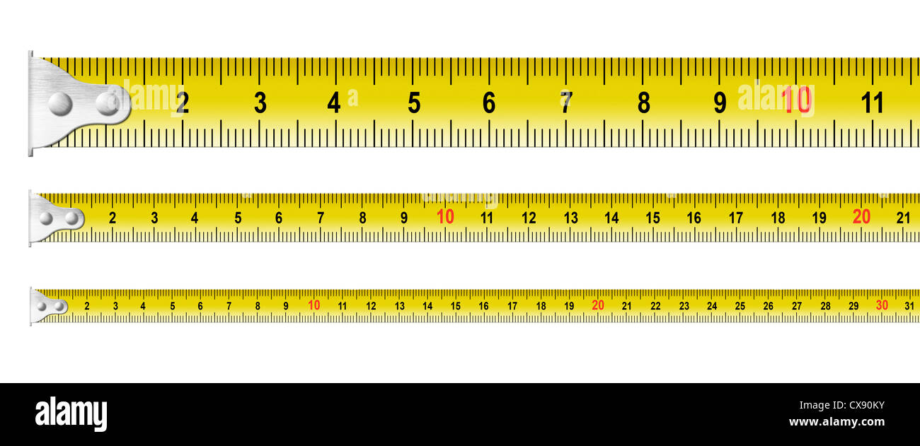 metal measure tapes set isolated - Stock Image