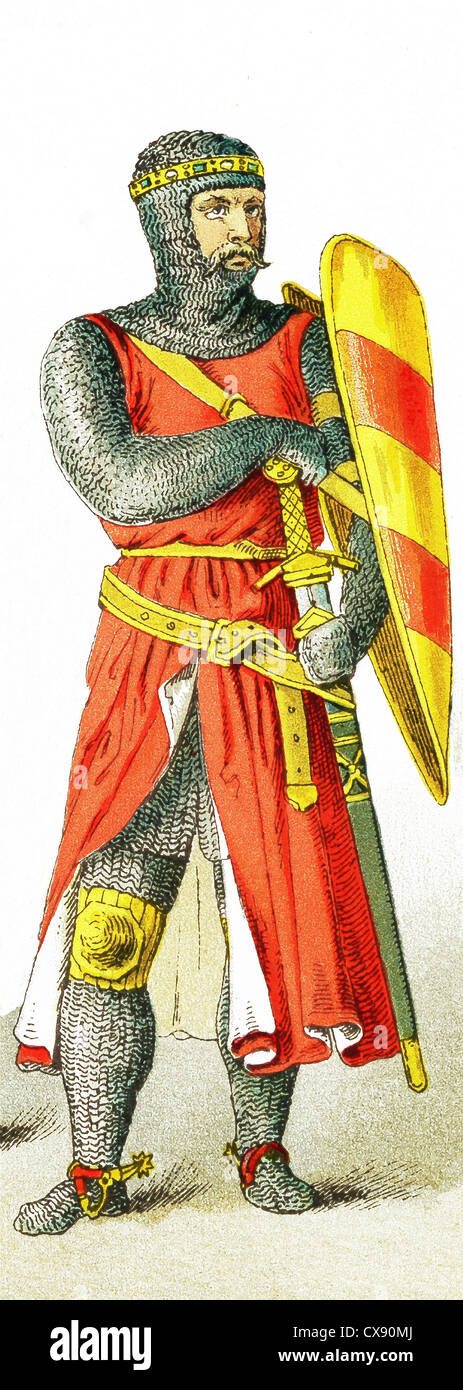 The figure represented here is an English knight around A.D. 1200. The illustration dates to 1882. - Stock Image