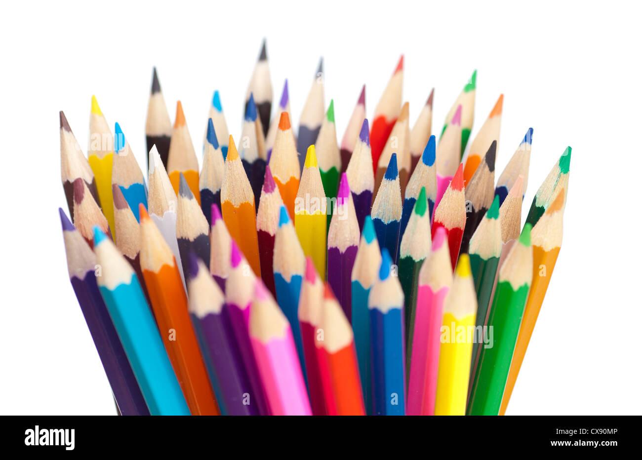 color pencils bunch macro shot - Stock Image