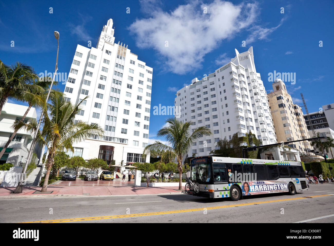 Hotel buildings in the Art Deco District, South Beach, Miami Beach, Florida, USA. - Stock Image