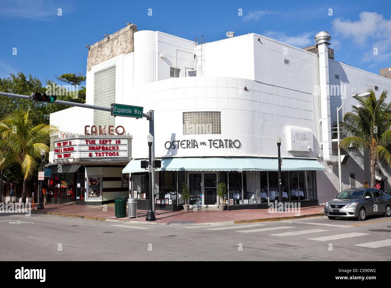 The Cameo Theater on corner of Washington Avenue and Espanola Way, Art Deco District, Miami Beach, Florida, USA - Stock Image