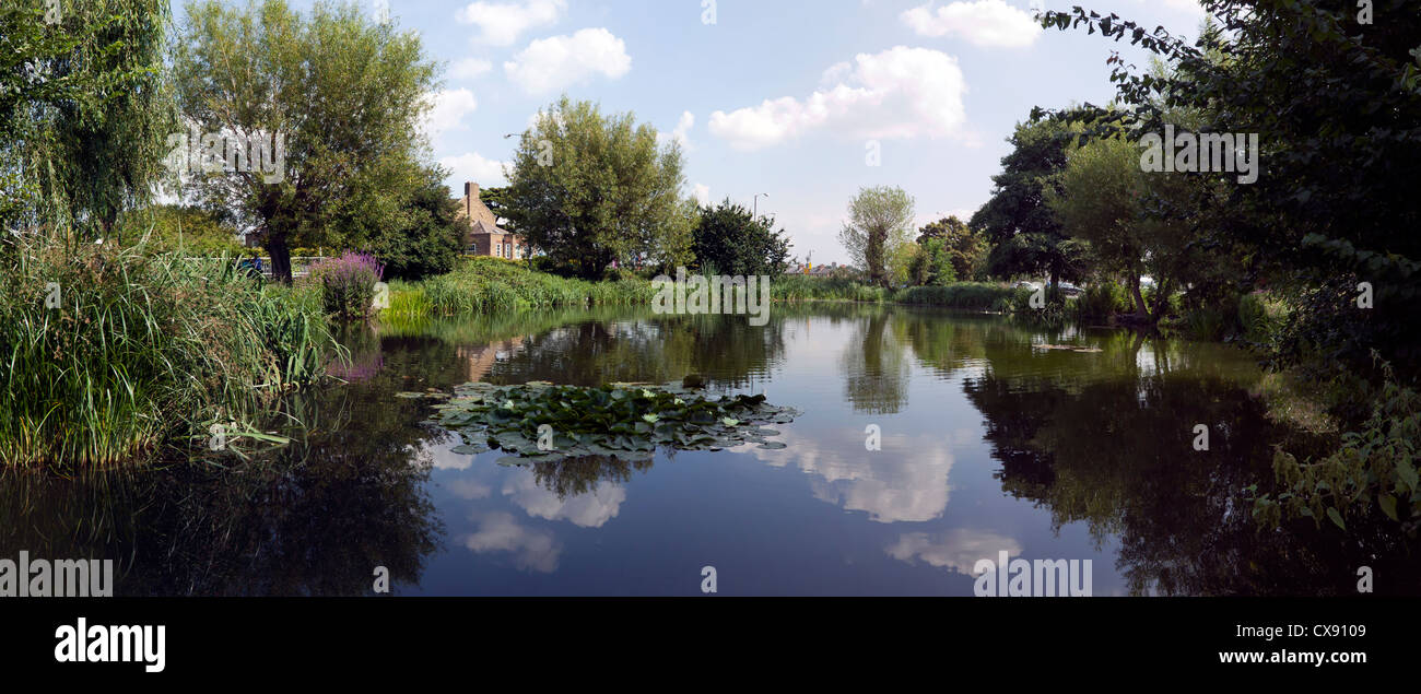 Panorama of the Hare and Billet Pond, Blackheath, Lewisham. - Stock Image