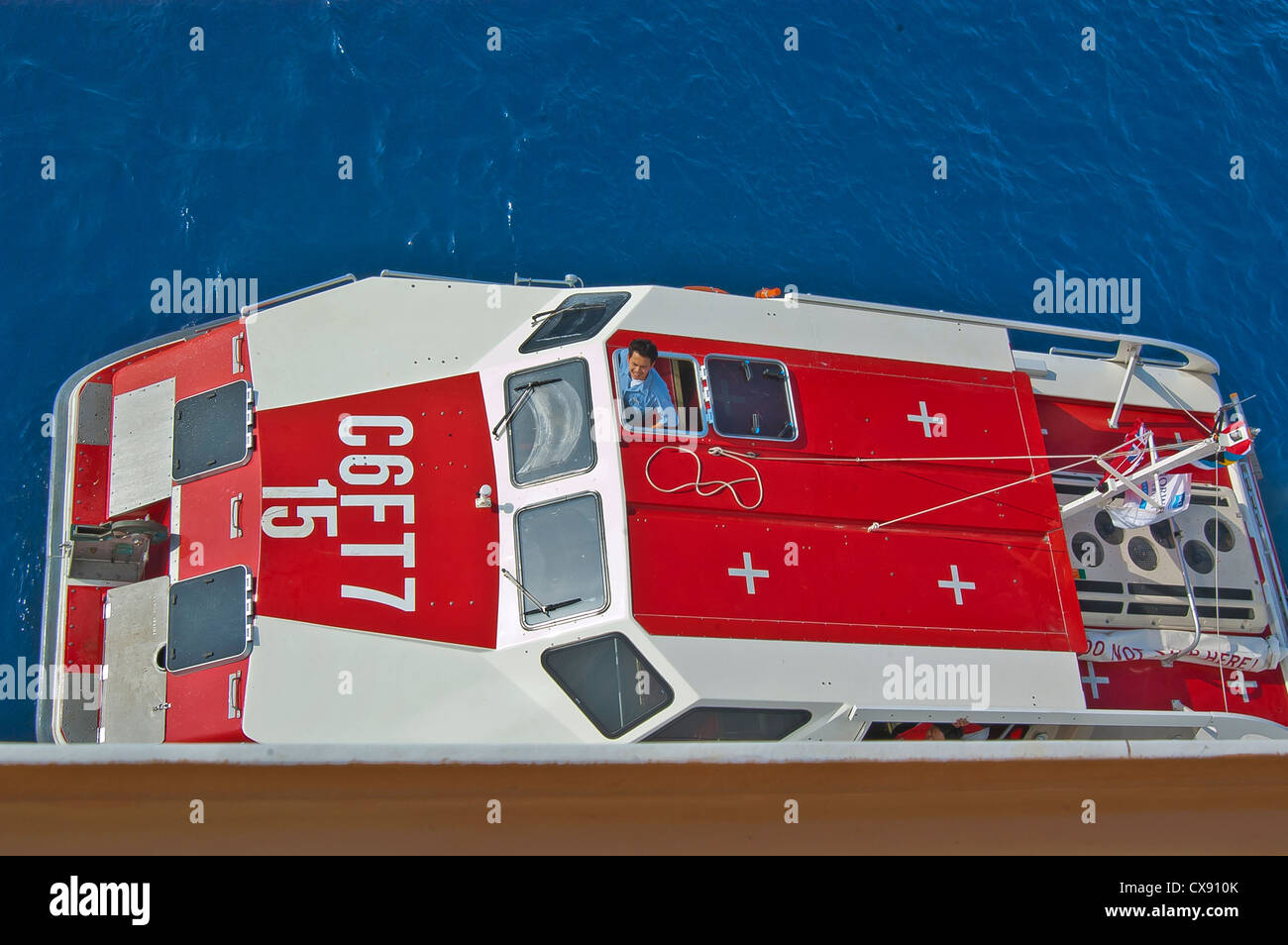 Top view of launching tender from cruise ship deck, Cruise