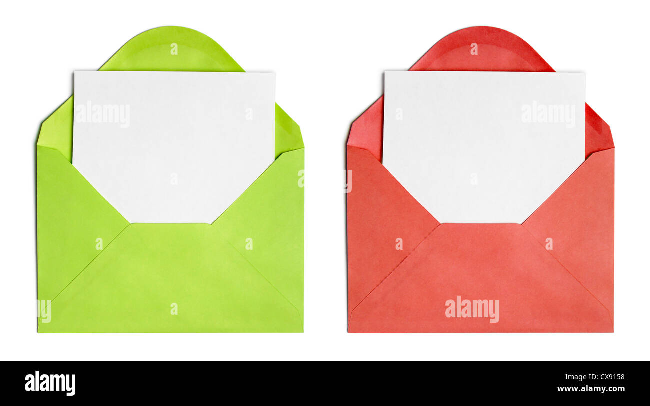 Set of isolated opened envelopes or cover with paper sheet Stock Photo
