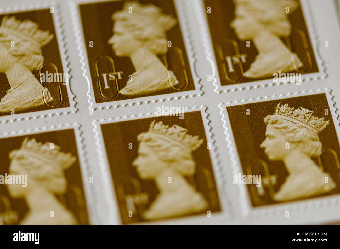 Book of self-adhesive UK first class postage stamps - Stock Image