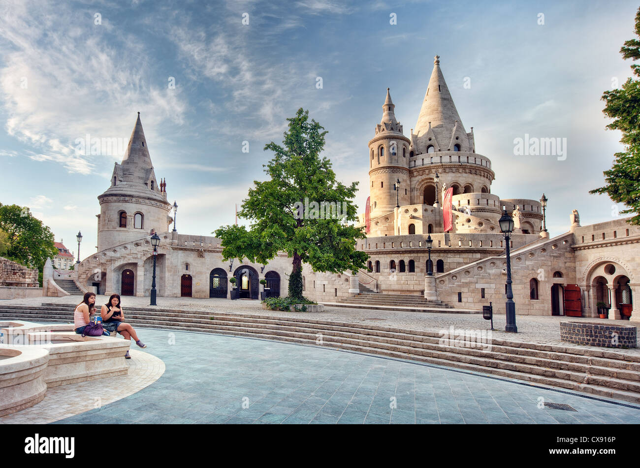The Halászbástya or Fisherman's Bastion on the Castle hill in Budapest, is a terrace in neo-Gothic - Stock Image