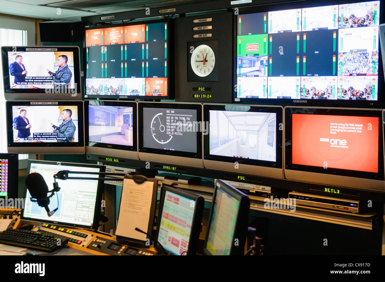 Regional broadcast schedule studio and control room for BBC1 Northern Ireland - Stock Image