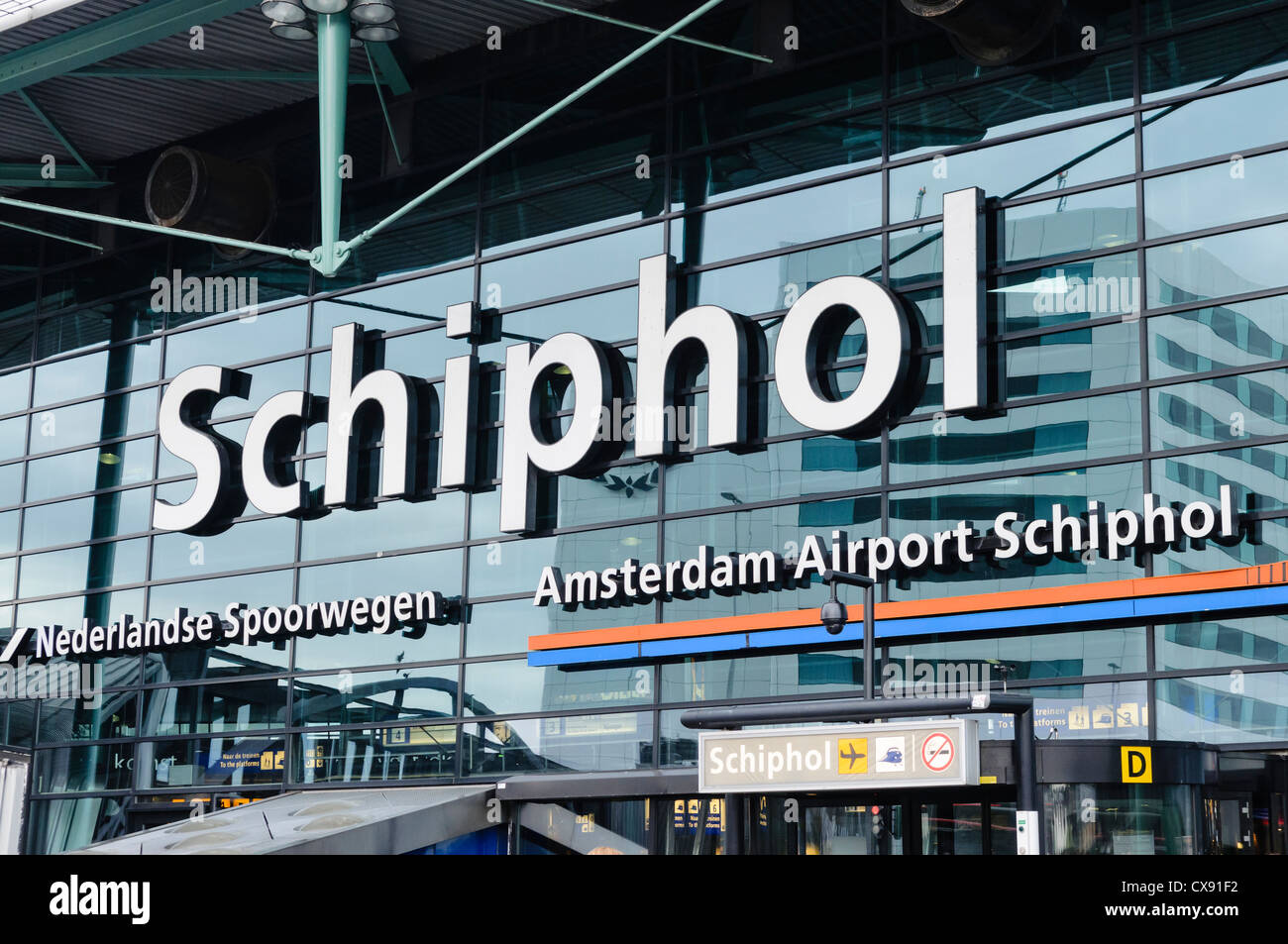 Main front entrance into Schiphol Airport, Amsterdam - Stock Image