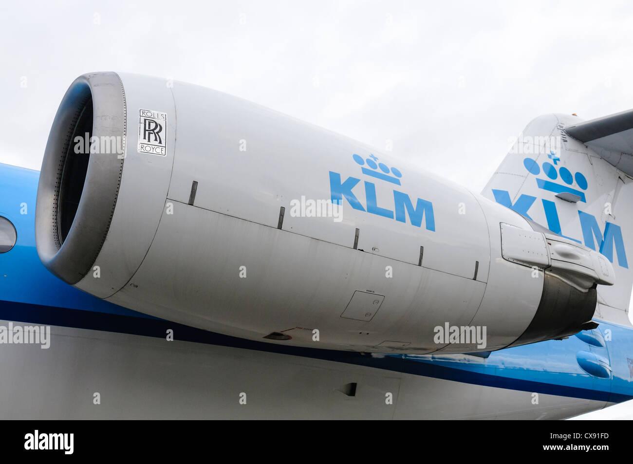 Rolls Royce RB-183 engine on a KLM Fokker 100 - Stock Image