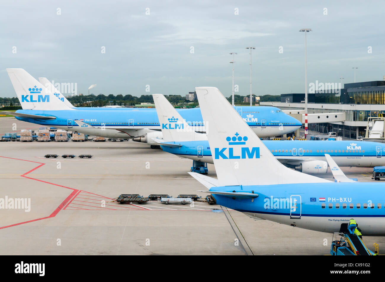 Air France KLM planes on the apron of Amsterdam Schiphol Airport - Stock Image