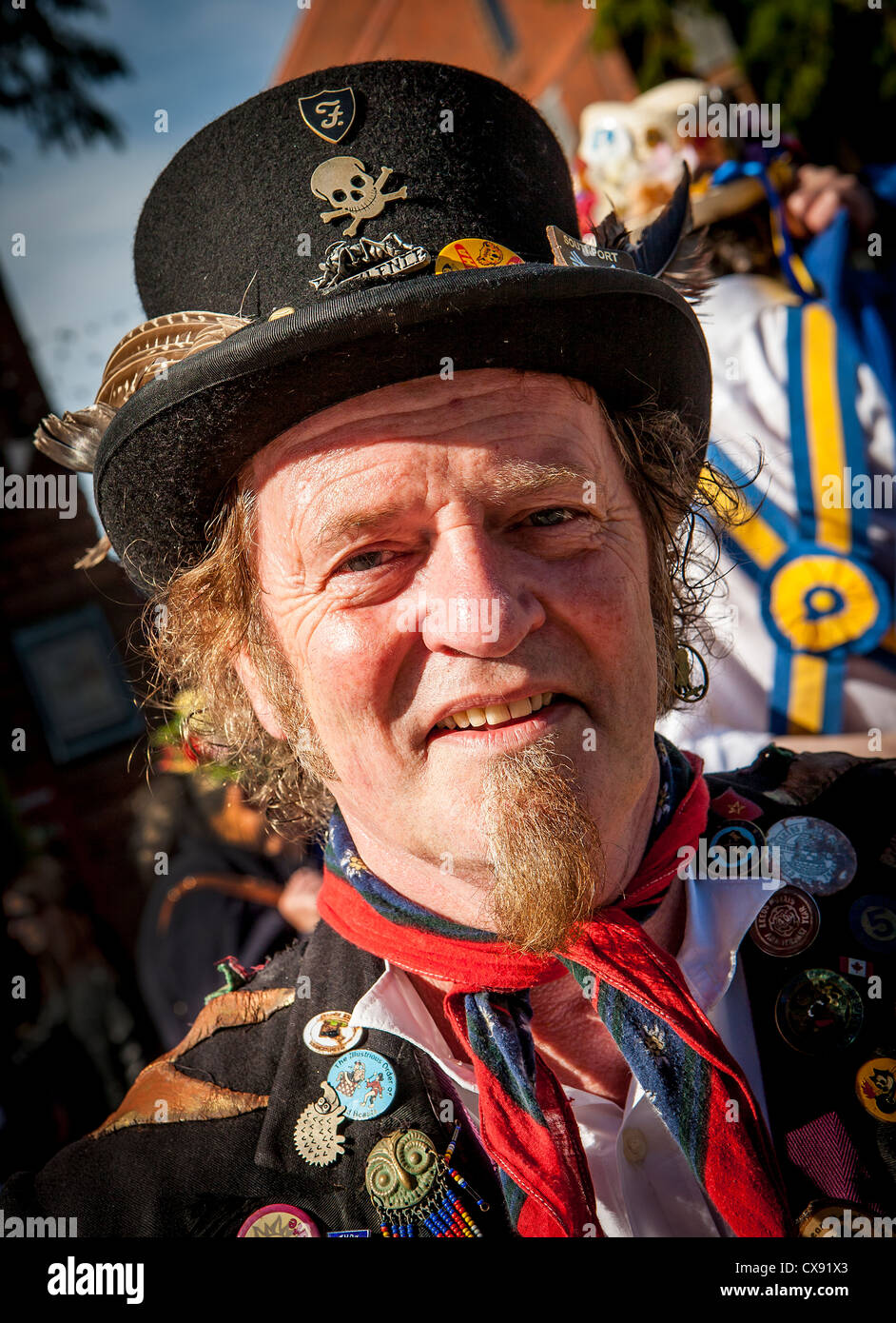 Portrait of a Morris Dancer taken in Warrington Town centre during a gathering of many groups of Morris Dancers - Stock Image