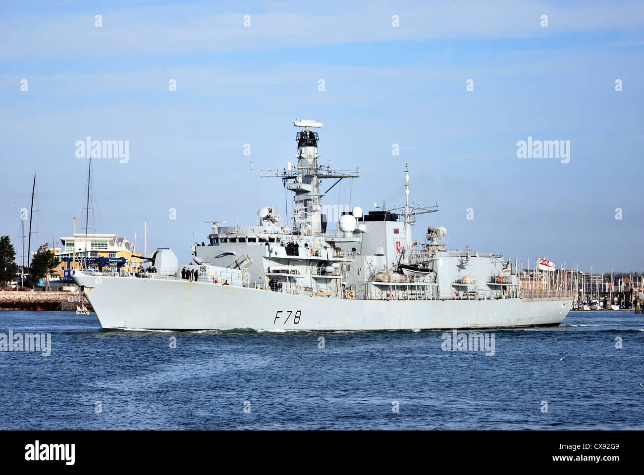The Royal Navy Frigate 'HMS Kent' departs from Portsmouth navy base heading to Dover on a good will visit. - Stock Image