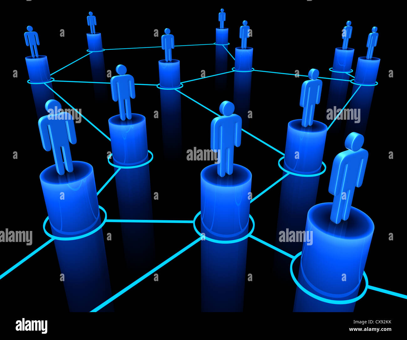 People interconnected on the concept of team, union and communication. Stock Photo