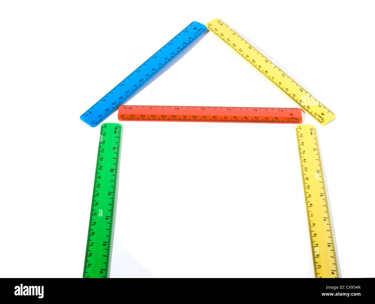 house made of colored rulers. Stock Photo