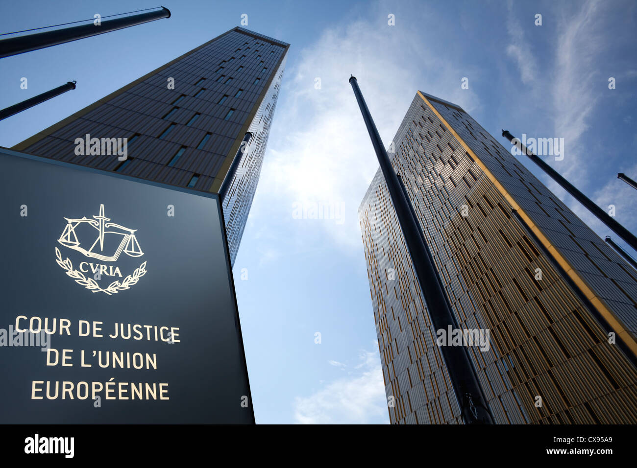 Office towers, European Court of Justice, Kirchberg Plateau, European District, Luxembourg City, Europe - Stock Image