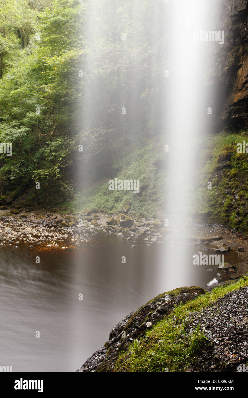 View from behind waterfall, [Henrhyd Falls], 'Brecon Beacons', Wales, UK - Stock Image