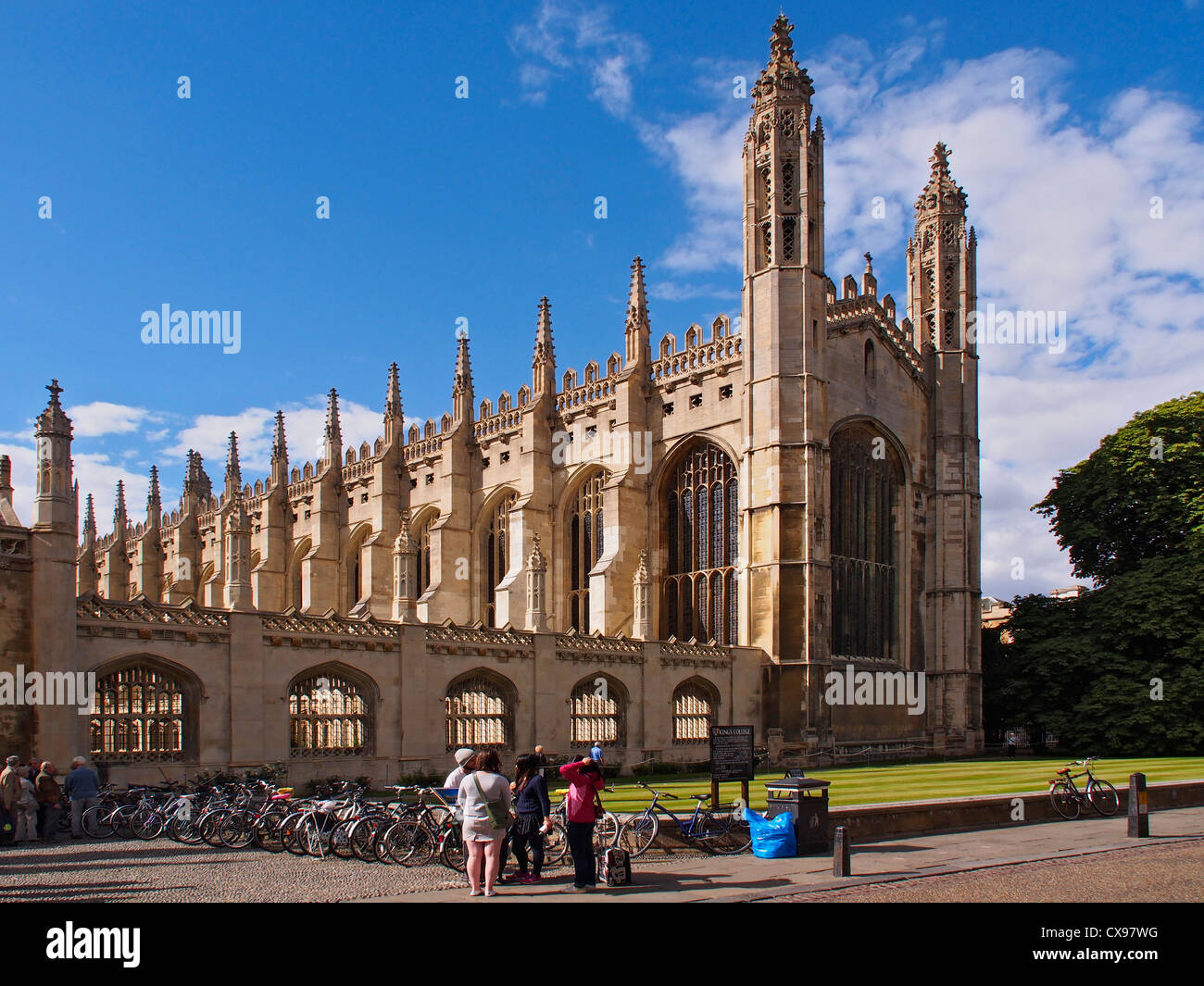 Landscape image of the front of Kings College Chapel Cambridge against blue autumn skies - Stock Image