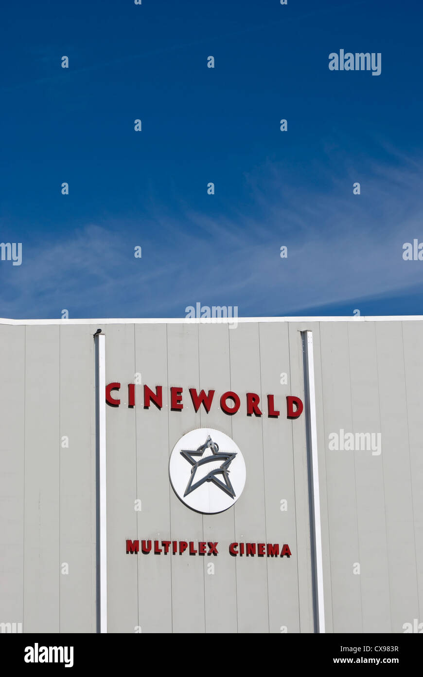 exterior detail with name and logo of cineworld multiplex cinema, feltham, middlesex, england - Stock Image