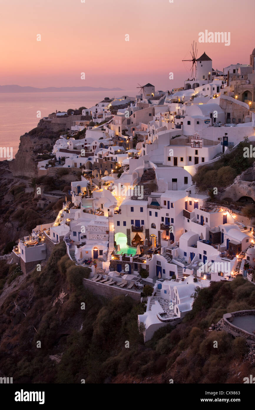 View of Oia village on Santorini at sunset - Stock Image