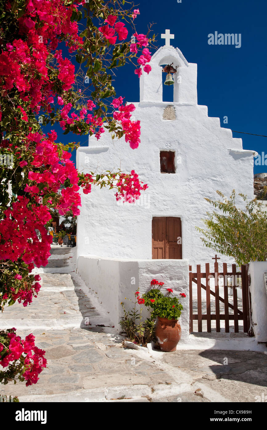 Chapel in Chora town on Amorgos island in Greece - Stock Image