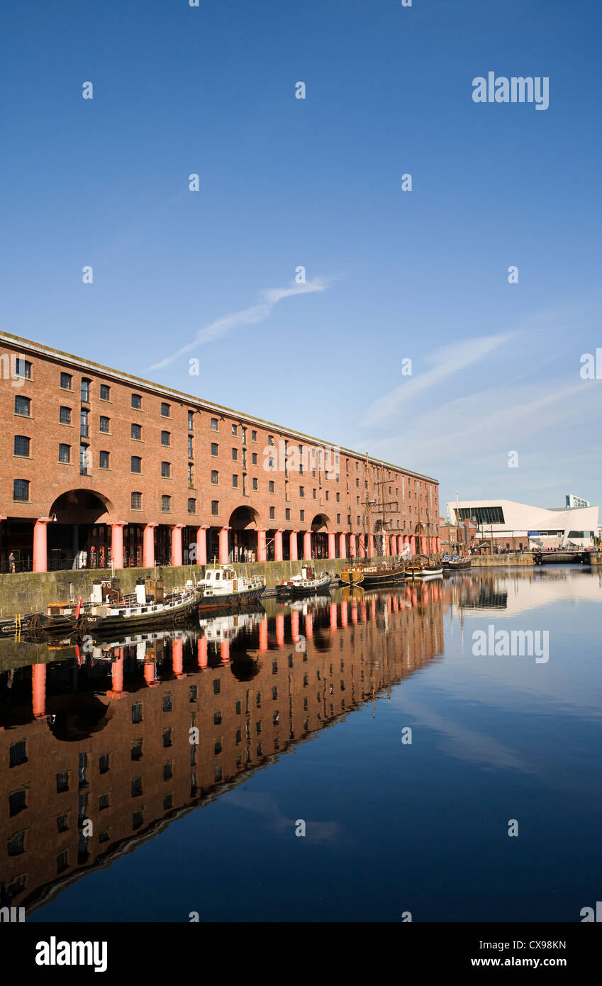 The Albert Dock is a complex of dock buildings and warehouses in Liverpool, England. Designed by Jesse Hartley and - Stock Image
