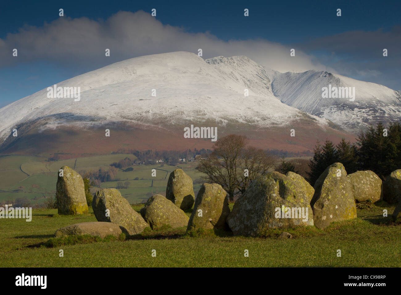 Castle Rigg Stone Circle looking towards snow clad Blencathra - Stock Image