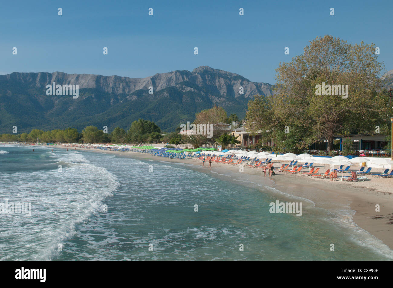 Thassos, Greece. Greek island. September. View south along Golden beach (Chrisi Ammoudia/Skala Panagias) Stock Photo