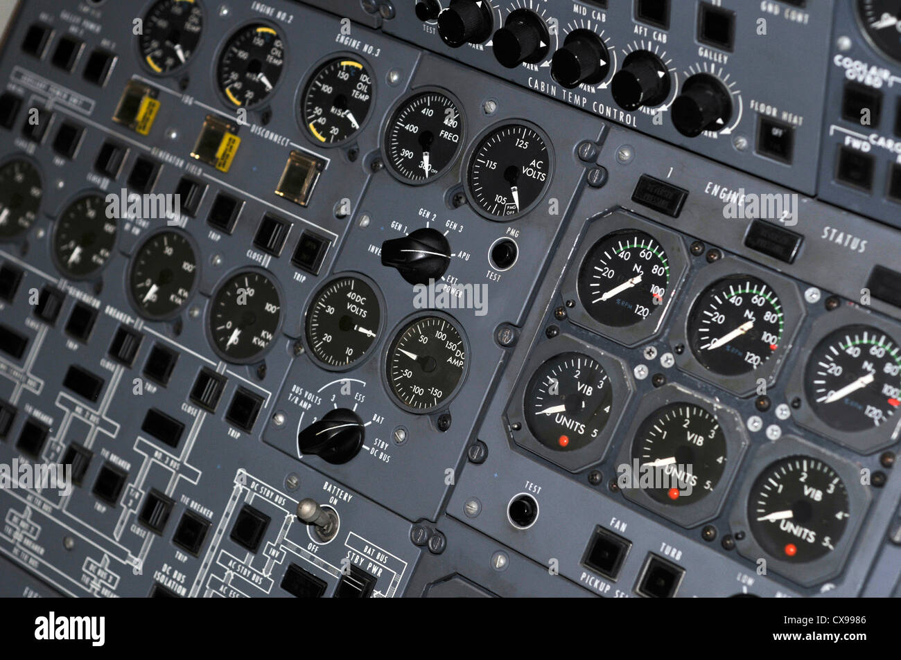 Aircraft flight deck. - Stock Image